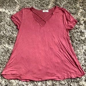 3/$15 Ginger G Mauve Pink Criss Cross Tee Shirt
